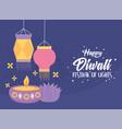 happy diwali festival candle in diya lamp vector image vector image