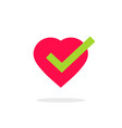 heart tick icon isolated vector image