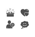 hearts security and present box icons speech vector image