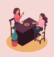isometric beautiful young woman at home vector image