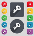 Key icon sign A set of 12 colored buttons and a vector image