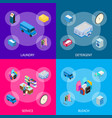 laundry banner set 3d isometric view vector image