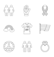 LGBT icons set outline style vector image vector image