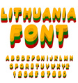 Lithuania font Lithuanian flag on letters National vector image vector image