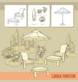 lounge chairs under patio umbrella and flowers in vector image vector image