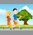 man and woman run vector image vector image