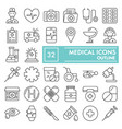 medical thin line icon set medicine symbols vector image vector image