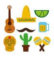 mexican hat guitar skull maraca tequila cactus vector image vector image