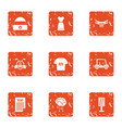 news team icons set grunge style vector image vector image