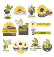 olive and sunflower oil extra virgin flat logotype vector image vector image