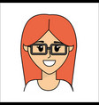 people happy face woman with glasses icon vector image vector image