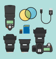photography equipments flat design elements vector image vector image