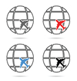 planet with airplane set vector image vector image