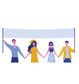 protesting people holding banners and placards vector image
