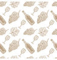 seamless pattern with hand drawn wine bottle wine vector image vector image