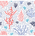 seamless pattern with red and blue corals and vector image