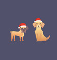 Set of cute dogs in red santas hat christmas