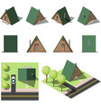 set of simple isometric houses vector image vector image