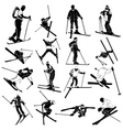 ski silhouette people vector image vector image
