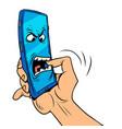 smartphone character bites his hand dangerous vector image vector image