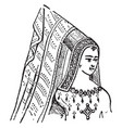 steeple head-dress vintage engraving vector image vector image