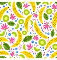 summer seamless pattern with fresh exotic fruits vector image