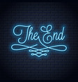 the end neon sign vintage movie ending neon frame vector image