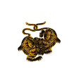 tiger in thai tradition stylethai tattoo vector image vector image