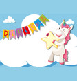 unicorn on diploma certificate template vector image