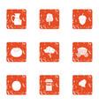 village food icons set grunge style vector image