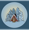 winter forest scene cabin log flat style vector image