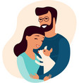 young couple holding small puppy vector image