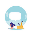 young woman lying in landscape with speech bubble vector image vector image