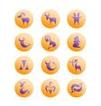 Zodiac Signs on orange circles vector image