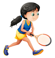 A young female player playing tennis vector image vector image