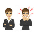 angry and happy expressions of businesswoman vector image vector image