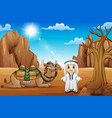 arab boys with camels in the desert vector image