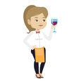 Bartender holding a glass of wine in hand vector image vector image