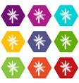 big palm tree icon set color hexahedron vector image vector image