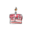 birthday cake with cream on white background vector image
