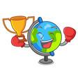 boxing winner globe mascot cartoon style vector image