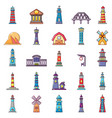 buildings icon set cartoon style vector image vector image