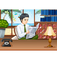 Businessman reading papers in the office vector image