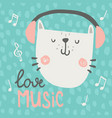 cat headphones vector image