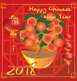 chinese new year with big mandarin tree vector image vector image