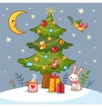 Christmas card with tree and gifts vector image vector image