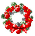 christmas sketch with wreath of fir twigs vector image