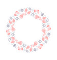 christmas wreath with pink xmas elements vector image vector image