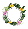 circle sticker with flowers and leaves decoration vector image vector image