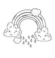 clouds and rainbow cartoon in black and white vector image